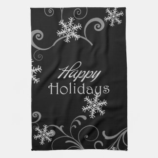 Happy Holidays White Snowflakes on Black Tea Towel