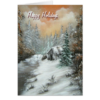 Happy Holidays Winter Cabin Greeting Card