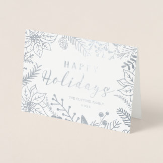 HAPPY HOLIDAYS WINTER FOLIAGE FRAME | SILVER FOIL CARD