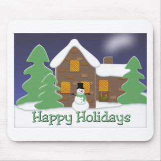 Happy Holidays Winter Scene with Snowman Mousepads