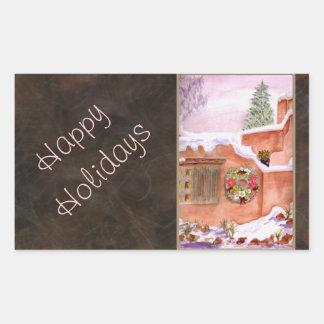 Happy Holidays - Winter Season Adobe Art Rectangular Sticker