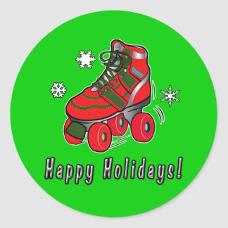 Happy Holidays with Christmas Roller Skate Classic Round Sticker
