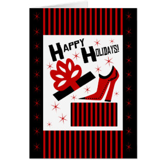 Happy Holidays! With Funky Shoe Boot And Gift Box Greeting Card
