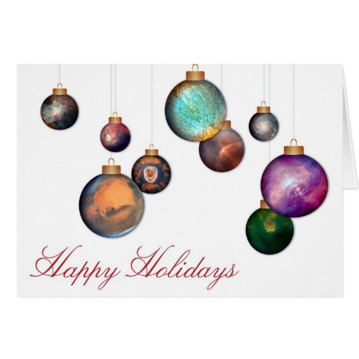 Happy Holidays with Hubble Space Photo Ornaments Greeting Card