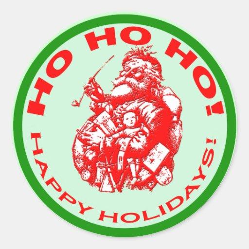 Happy Holidays with Vintage Santa Design Round Sticker