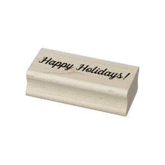Happy Holidays Wooden Block Mounted Rubber Stamp