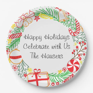 Happy Holidays Wreath Paper Plate