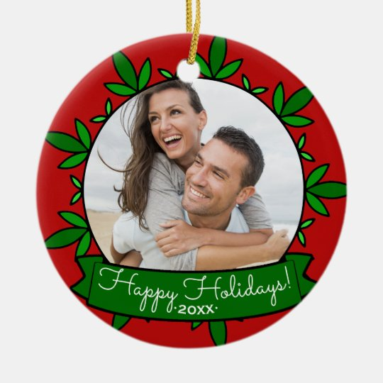 Happy Holidays Wreath Personalised Christmas Photo Christmas Ornament