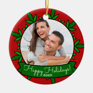 Happy Holidays Wreath Personalized Christmas Photo Christmas Ornament