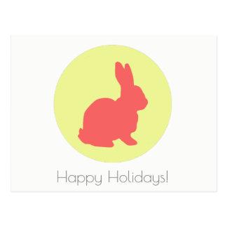 Happy Holidays Yellow Bunny Postcard