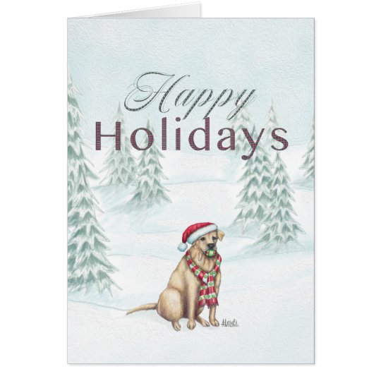 Happy Holidays Yellow Lab Card