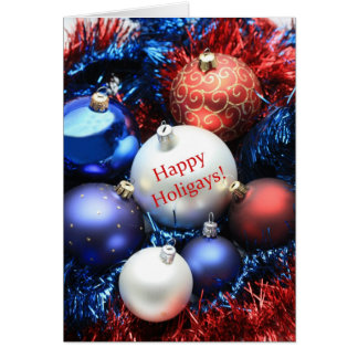 Happy Holigays christmas ornaments card