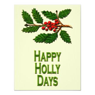 Happy Holly Days 11 Cm X 14 Cm Invitation Card