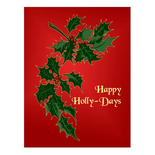 Happy Holly-Days Business Christmas Postcard