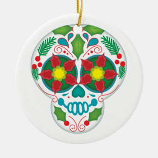 Happy Holly Days, Christmas Sugar Skull Ornament