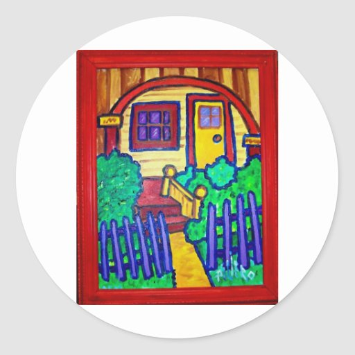 Happy Home by Piliero Round Sticker