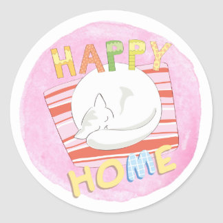 Happy Home Cat on Pink Watercolor Sticker Set