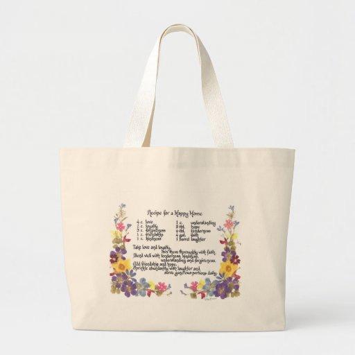 Happy Home Recipe Canvas Bags