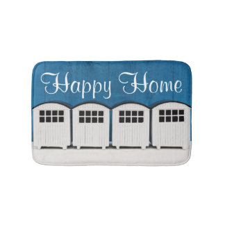 Happy Home Summer Beach cabins in blue and white Bath Mats