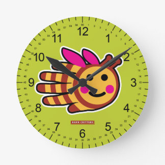 Happy honey bee with pink wings round clock