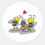 happy honeybees round sticker