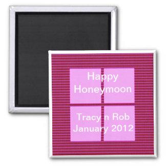 Happy Honeymoon - Pink Square Memory Bank Square Magnet