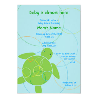 Happy Honu Flat Baby Shower Invitation - Blue
