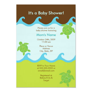 Happy Honu Swirly Waves Baby Shower Invitation