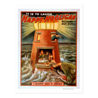 Happy Hooligan Lighthouse and Jonah Play Postcard