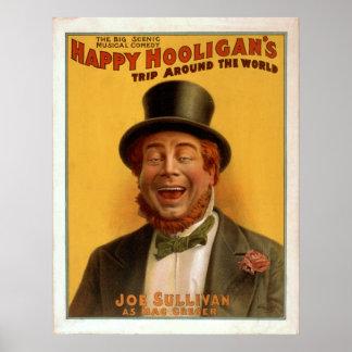 Happy Hooligans Trip Around The World Vintage Poster