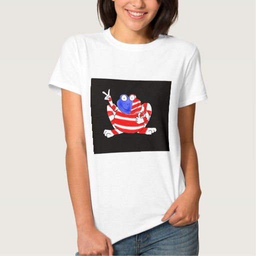 Happy Hoppy Frog Peace 4th of July Red White Blue Tee Shirt
