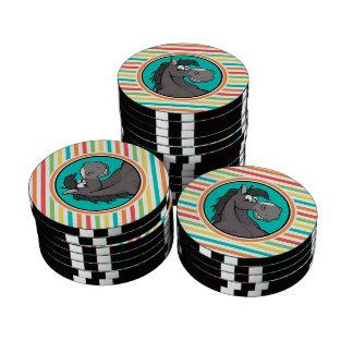 Happy Horse; Bright Rainbow Stripes Poker Chips