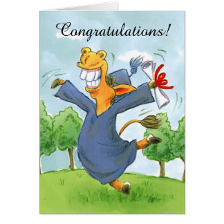 Happy horse cap graduation customizable card
