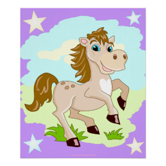 Happy Horse Cartoon Poster