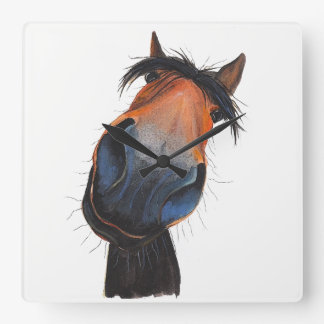 Happy Horse 'Happy Dave' by Shirley MacArthur Square Wall Clock