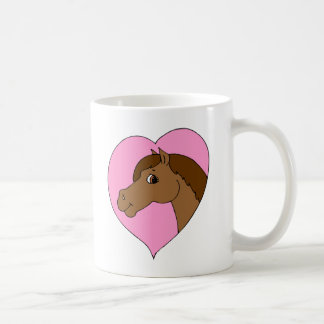 Happy Horse Pink Heart Pony Love Equine Theme Coffee Mug