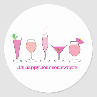 happy hour classic round sticker