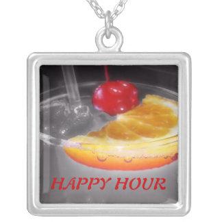 Happy Hour Cocktail Drink Square Pendant Necklace