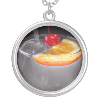 Happy Hour Cocktail Drink Round Pendant Necklace