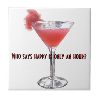 Happy Hour Cocktail Humor Small Square Tile
