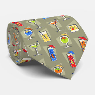 Happy Hour Fifties Cocktail Khaki Tie