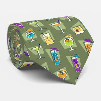 Happy Hour Fifties Cocktail Moss Green Tie
