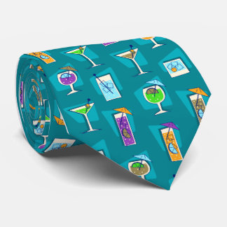 Happy Hour Fifties Cocktail Teal Tie