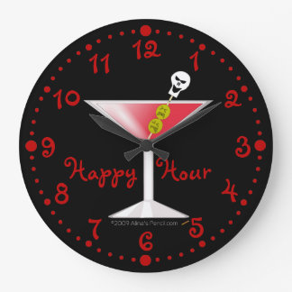 Happy Hour Funny Bloody Martini Clock w/ Minutes