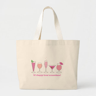 happy hour large tote bag