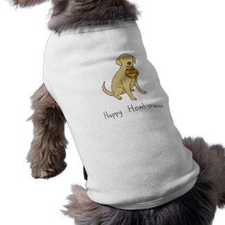 Happy Howl-o-ween - Halloween Dog - Yellow Lab Sleeveless Dog Shirt