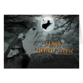"Happy ""Howl""oween Husky Dog and Witch Card"