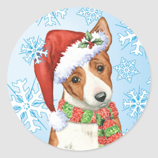 Happy Howliday Basenji Classic Round Sticker