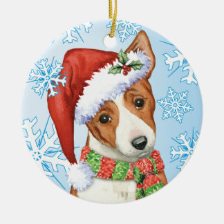 Happy Howliday Basenji Round Ceramic Decoration