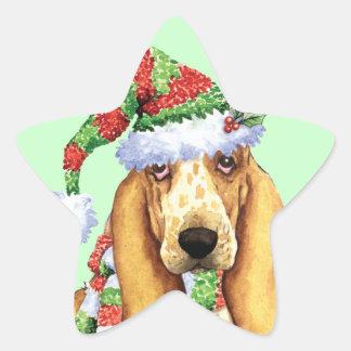 Happy Howliday Basset Star Sticker
